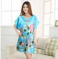 Плюс Размер женщин Искусственного Шелковый Халат Ванна Платье Ночная Рубашка Светло-Голубой Сексуальный Лето Трусы Новый Стиль Пижамы Pijama Mujer Sws001B