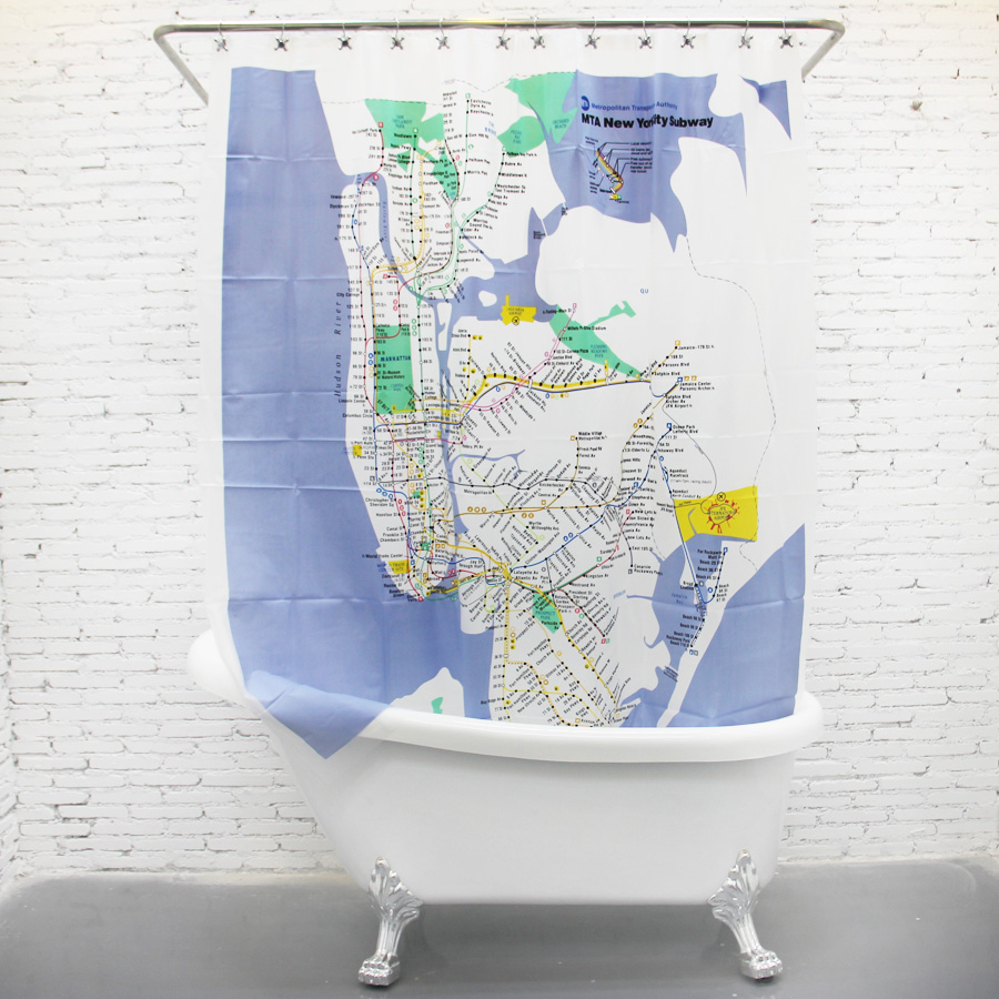 US $36 56 |Custom New York City Underground Tube Subway Map Shower Curtain  180*180CM Bathroom Decor-in Shower Curtains from Home & Garden on