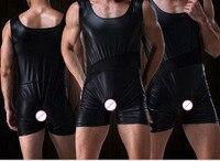 2017 sexy imitacja skóry szorty męskie jockstrap underwear sexy kombinezony przejrzyste kamizelki faux skórzane body