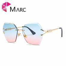 MARC 100%UV400 2018NEW WOMEN MEN Fashion Gradient Sunglasses Blue Brown Driving Resin Alloy Goggle Gafas Sol Rimless arnett fd720 fashion brown resin lens uv400 protection sunglasses for women brown