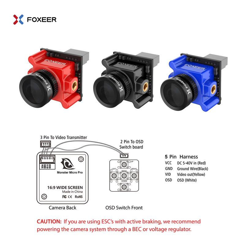 Foxeer Monster Micro Pro 1 8mm 16 9 1200TVL PAL NTSC WDR Low Latency FPV Camera