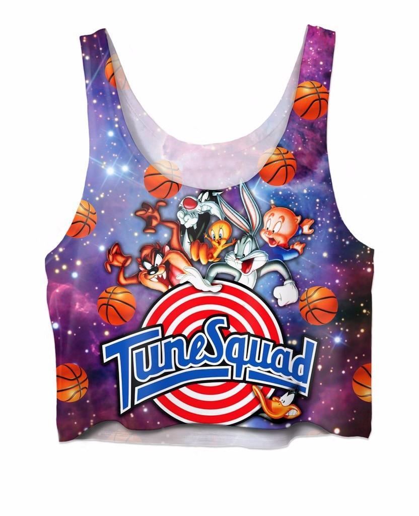 Women Tank Top Space Jam Tune Spuad Crop Top Character Cropped Tweety bird Taz Girls Vest Tank Tops Looney Tunes Bugs Tee