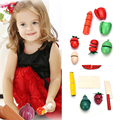 Preschool Children Wooden Food Fruit and Vegetable Cutting Set Colorful Pretend Play Kitchen Toys Set For Kids