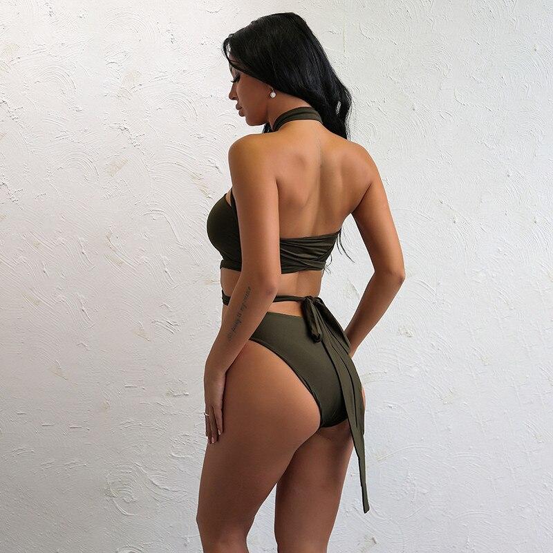 Itsroya Hot Collection DIY Long Strap Swimsuit Women 3 Colors High Waist Bikini Vintage Sexy Bodysuit Cropped Biquinis 5