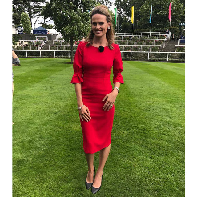 solid color red cotton blends christmas party dresses office lady work dress o neck half