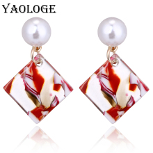 YAOLOGE Simple Square Acrylic Pendant Imitation Pearl Stud Earring Color Bohemian Style Jewelry For Female Accessories New
