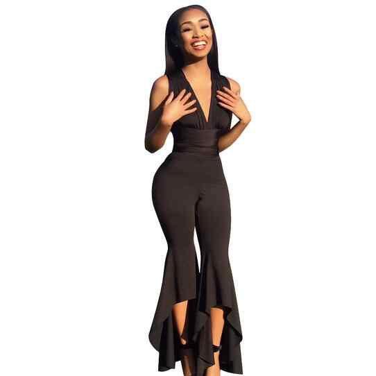 Широкие брюки Bodycon комбинезон Глубокий V летний Полный Боди женские пикантные Клубные вечерние черный, белый цвет женские комбинезон WF191