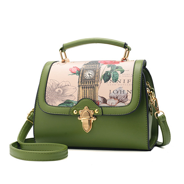 Women Fl Print Doctor Bag Color Block Designer Leather Handbags Brand Vintage Small Tote Female