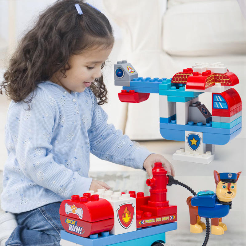 Paw patrol puzzle building block bus watchtower large particles assembled dog patrol team assembled educational toys