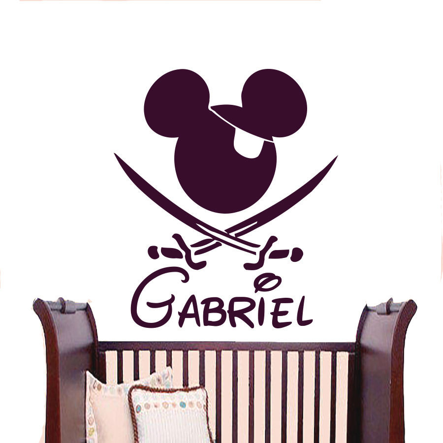 Wall decals personalized name decal vinyl sticker mickey mouse baby child bedroom art cartoon decorative stickers 56x43cm