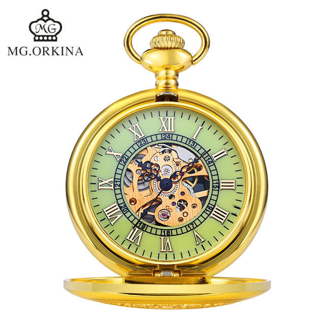 MG.Orkina Classic Steampunk Men's Skeleton Mechanical Bronze Handwind Mechanical Pocket Watch Necklace Gift Free Ship