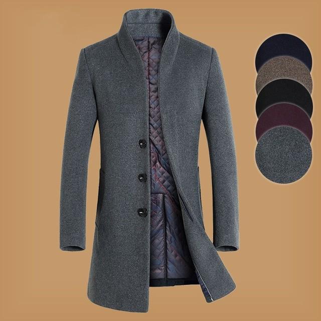 Luz coreano Casaco De Lã dos homens de Luxo Inverno Primavera Homens Mistura de Lã Casacos Longos Casacos E Jaquetas Homem Blusão de Lã Quente sobretudo