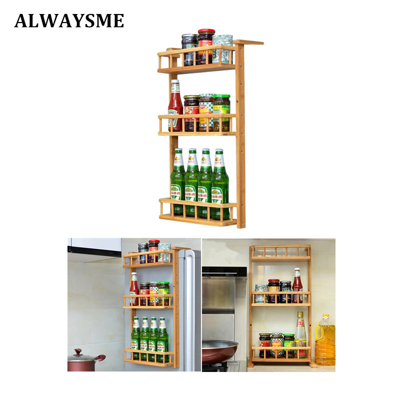 ALWAYSME Pull-Out Wood Wall Cabinet Organizer Holder Rack 3 Tier Wall Mounted Kitchen Condiment Storage Organizer Shelf Rack