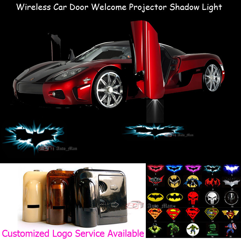 2x 3D Dark Knight Batman Logo Wireless Sensor No Need Drilling Car LED Welcome Laser Projector Ghost Shadow Lamp 0123