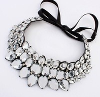 Europen And American Vintage Acrylic Rope Fake Collar Statement Necklace For Women Rhinestones Princess Collar Necklace
