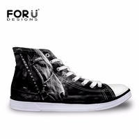 FORUDESIGNS Men High Top   Vulcanize     Shoes   3D Animal Horse Pattern High-top Leisure   Shoes   for Men Casual Canvas   Shoes   Zapatos 2018