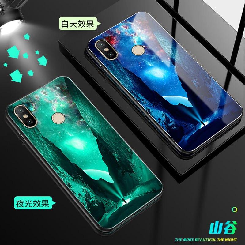 Luminous Glass Case For Xiaomi redmi 6 6pro note 7 6 Glass back Cover For Xiaomi