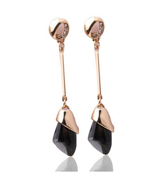 Women's Drop Crystal Earrings Earrings Jewelry Women Jewelry Metal Color: E071 black