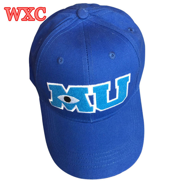 Monsters University Sulley Mike Baseball Caps MU Letters Unisex Pixar Movie Blue Hat Adjustable Hip Hop Caps Snapback Hat WXC