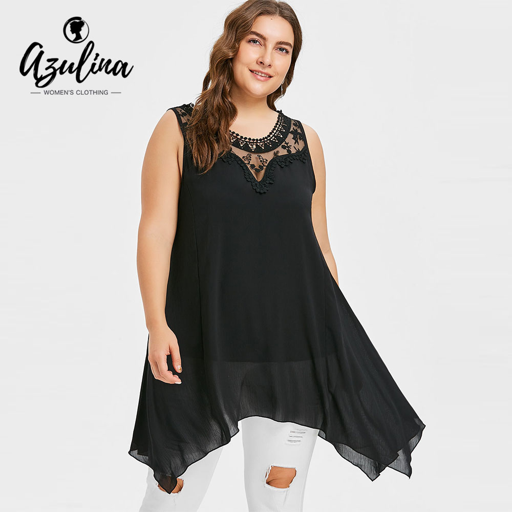 AZULINA Plus Size Lace Panel Sleeveless Tunic Top Women Tanks Summer O Neck Sleeveless Black Long Tops Tees Urbane Ladies Top