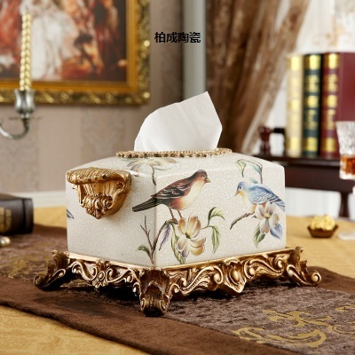 Superb Guci Drawer Box Luxury Home Accessories Living Room Table Ornaments Resin  European Flowers Birds Tissue Box