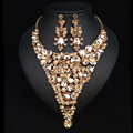 New Fashion Bridal Jewelry Sets Gorgeous Crystal Gold Plated African Necklace Earrings For Brides Party Prom Wedding Accessories