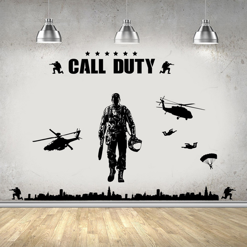 Us 1118 30 Offarmy Military Soldier Wall Stickers For Kids Rooms Nursery Children Boys Bedroom Vinyl Wallpaper Art Decor Poster Decals Yy137 In