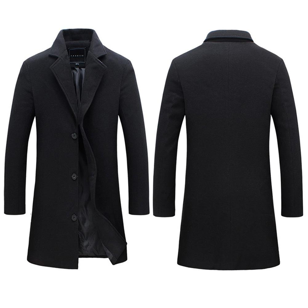 2019 Fashion Men's Wool Coat Winter Warm Solid Color Long Trench Jacket Male Single Breasted Business Casual Overcoat Parka 14