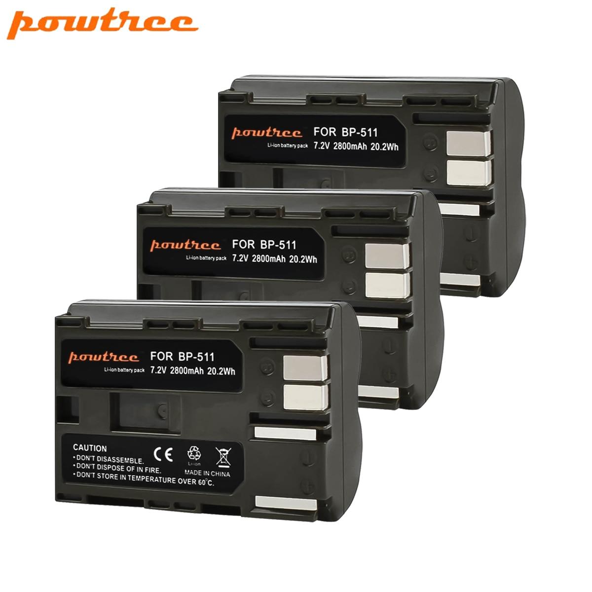 Powtree 2800mAh BP-511 BP-511A BP 511A For Camera Battery BP511 BP 511 For Canon EOS 40D 300D 5D 20D 30D 50D 10D G6 L10