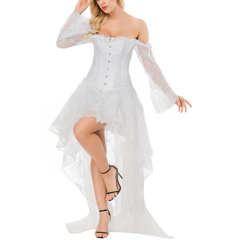 Sapubonva white corset dress long victorian girls waist ...