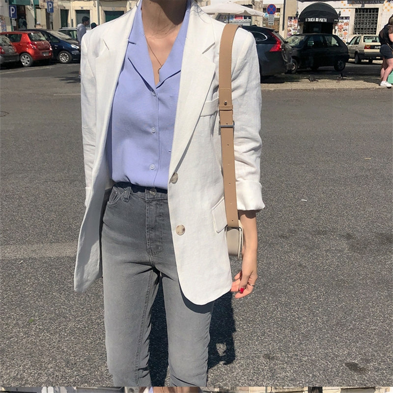 HziriP Simple Full Sleeves White Chic 2019 Summer Linen Cotton New Office Ladies Loose All Match Fashion OL Women Blazers S-XL