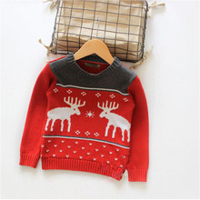 Baby Christmas Deer Sweater Winter Boys Pullover Sweaters O-neck Knitted Baby Boys Outwear Sweater Shirts Newborn Clothes CL0600