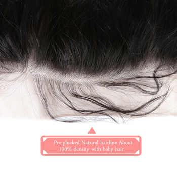 Ali Queen 13x6 Pre Plucked Hair Line Lace Frontal Brazilian Virgin Hair Body Wave Natural Color Closure Swiss Lace Free Shipping