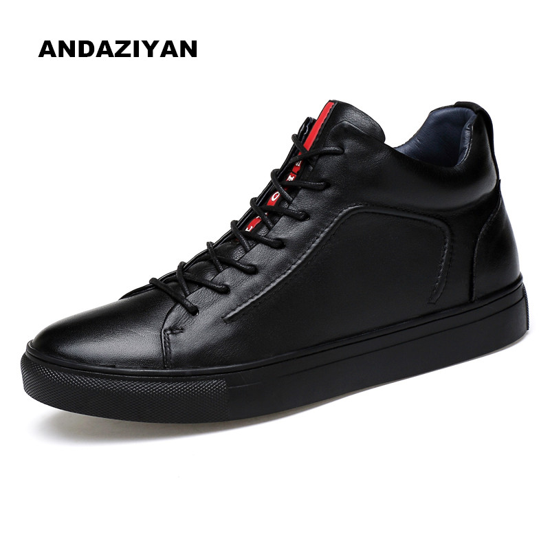 High to help casual shoes to the first layer of leather shoes men Large size shoes Wild style black dry style plus cottonl 17 years the new season the first layer of leather shoes shoes men lazy casual leather shoes shoes retro matte doug