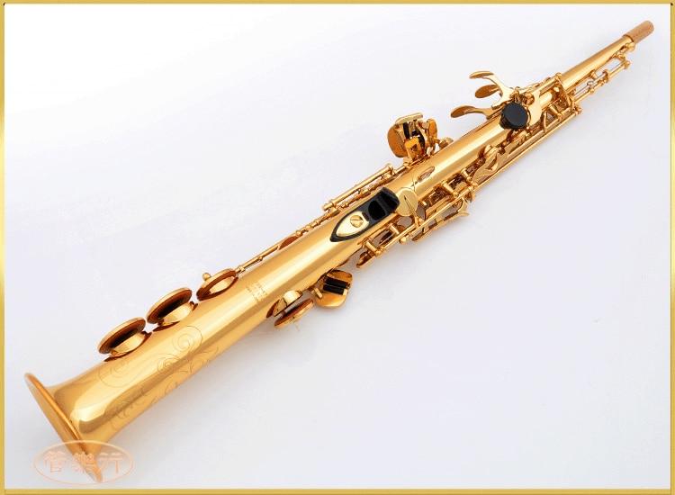 L & K Soprano Saxophone OEM YSS-475 B plat Électrophorèse Or Top Instruments de Musique Sax Soprano de qualité professionnelle