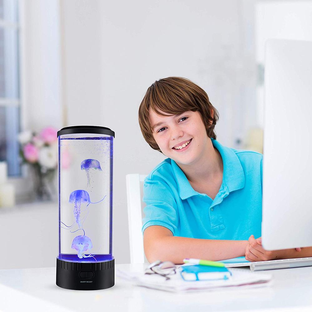 Image 2 - Boaz Jellyfish Lamp Tank Mood Light Aquarium Color Changing Remote Ocean Wave Projector Jellyfish Children Table Light Lava Lamp-in LED Night Lights from Lights & Lighting