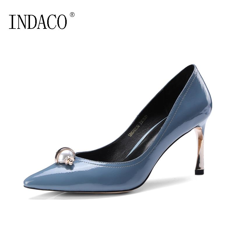 f232610686d2 À Office En 2019 Sexy D été Brun Cm Peu 8 Lady Pompes Pour Chaussures Bleu Talons  Cuir ...