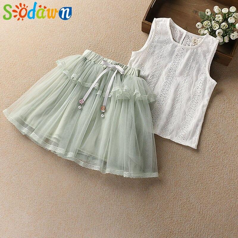 Sodawn Children Clothes Girls Clothes Suit 2018 Summer New Fashion Cotton Short-sleeved Flower T-shirt +Princess yarn Dress 2pcs