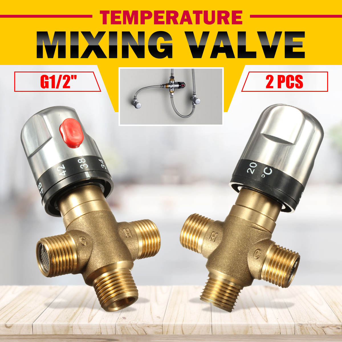 2Pcs Xueqin Brass Thermostatic Mixing Valve Bathroom Faucet Temperature Mixer Control Thermostatic Valve Home Improvement2Pcs Xueqin Brass Thermostatic Mixing Valve Bathroom Faucet Temperature Mixer Control Thermostatic Valve Home Improvement