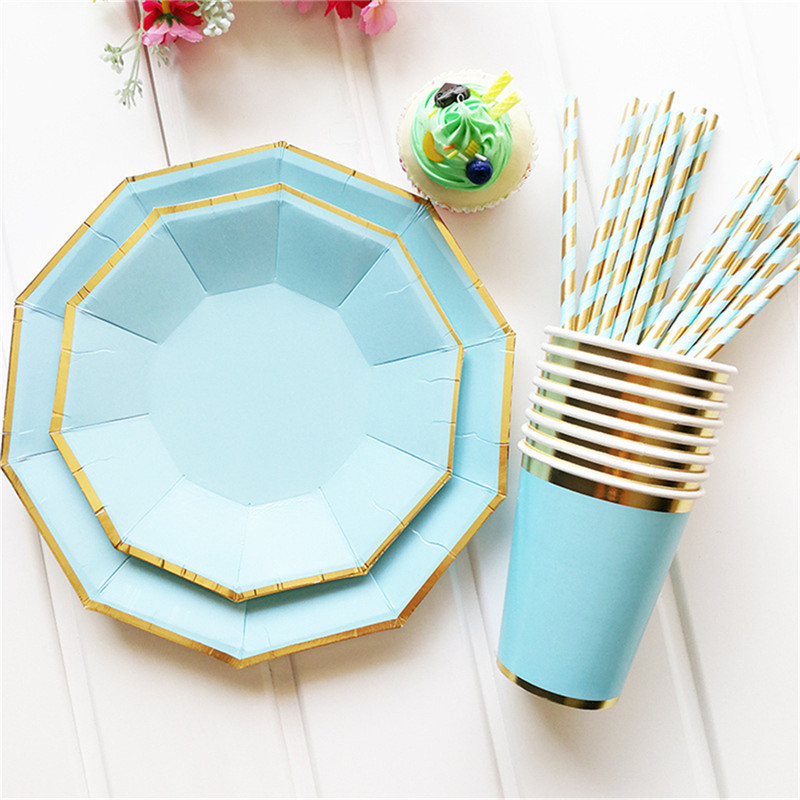 Gold Blocking Disposable Tableware Fresh <font><b>Blue</b></font> One-off Paper Plates <font><b>Cup</b></font> Straws Birthday <font><b>Party</b></font> Wedding Carnival Tableware Supplies