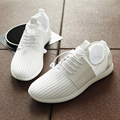 Hot-selling! 2017 New Fashion Male Mesh Breathable Flat Shoes Outdoor Lace-up White Shoes Mesh&Net comfortable Shoes Black/White