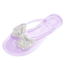 slippers female summer fashion Luxury Rhinestone bow flip flops wear wild flat jelly slippers Outdoor Female zapatos de mujer(China)
