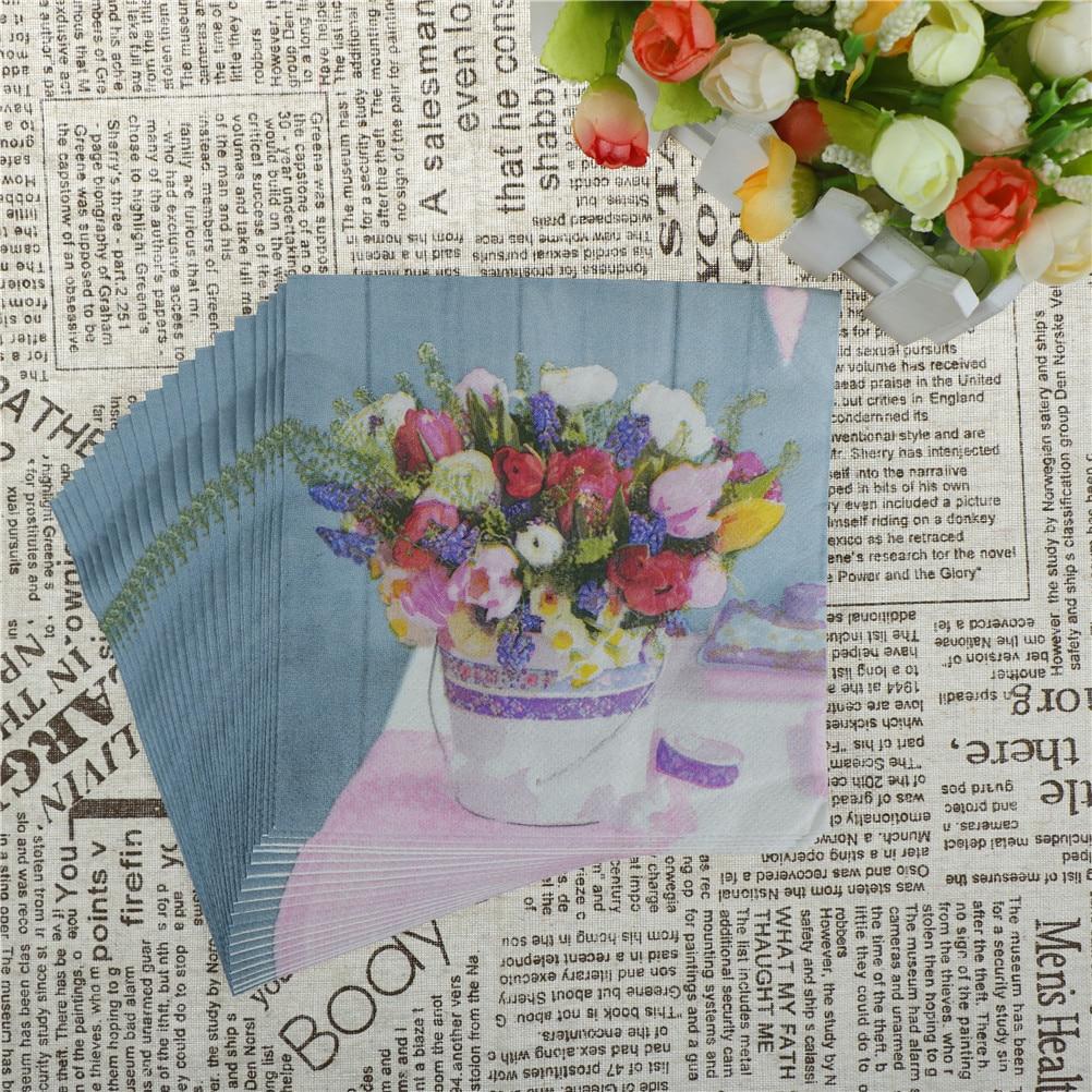 20pcsnew Paper Napkin Flower Healthy Napkin Paper Tissue Kids
