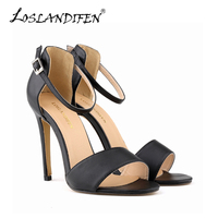 Women Fashion Ankle Strap Sandles Open Toe High Heels PU Leather Matte High Heeled Female Summer