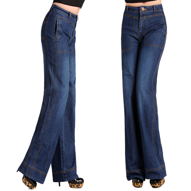 589a98f1e Primavera Otoño Moda Para Mujer pantalones Anchos de La Pierna de La  Vendimia Mediados de Cintura