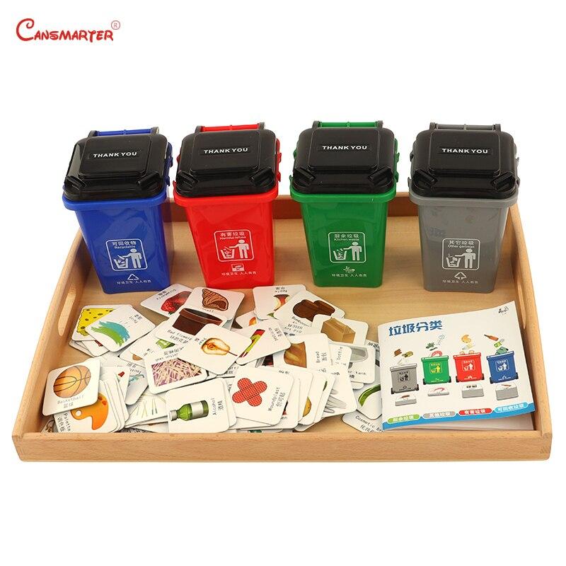 Tri des ordures jouet classé poubelle Montessori 4 tri avec plateau bois hêtre enfants pratique enseignement jouet PR030-3