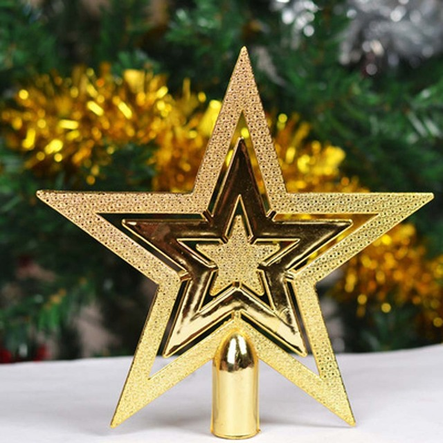 1 pcs 10cm20cm golden stars treetops of christmas tree toppers ornaments christmas star xmas - Christmas Star Decorations