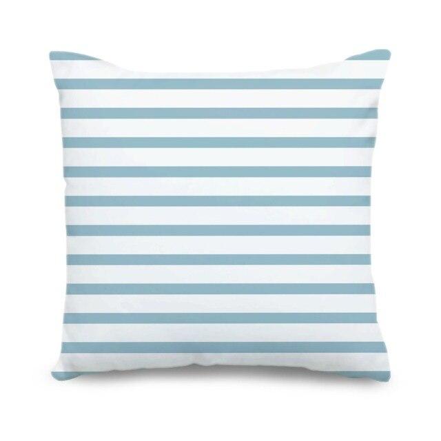 Custom Canvas Cushion Cover Sky Blue Stripe Cushion Case Geometric