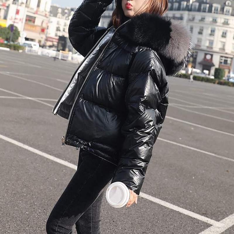 Vers Mince Plus Fourrure Ux68 Parkas De Visage Gold black Côtés Mode Veste D'hiver Femmes Col Coréenne Lumineux Renard Survêtement Usure Deux Bas Épais Le pink Nouveau YnwaqntO