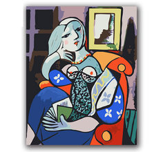 Picasso Woman holding book abstract picture painting by numbers with kits on canvas draw coloring for bedroom decor(China)